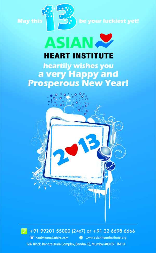 Asian Heart Institute wishes everyone a Happy and Hearty New Year.